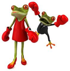 Fun frogs fighting - 3D Illustration