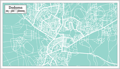 Dodoma Tanzania City Map in Retro Style. Outline Map.
