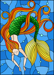 Illustration in stained glass style with mermaid with long red hair on water and air bubbles background