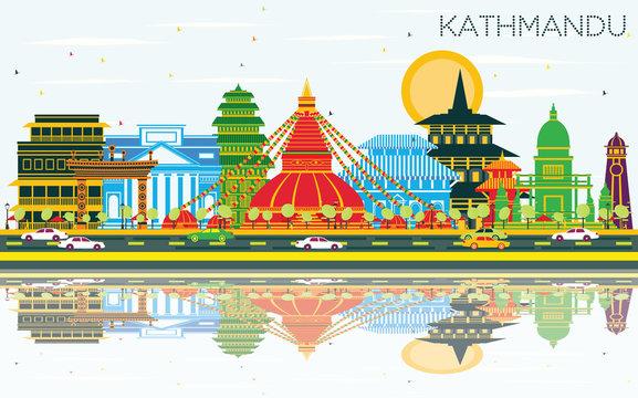 Kathmandu Nepal City Skyline with Color Buildings, Blue Sky and Reflections.