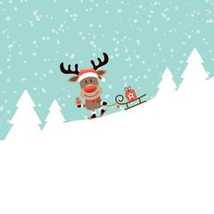 Rudolph Gift Skiing Downhill Pulling Sleigh Retro
