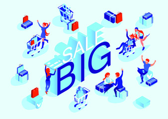 Sale banner. Pleased people with shopping in the store and online store. Isometric 3d