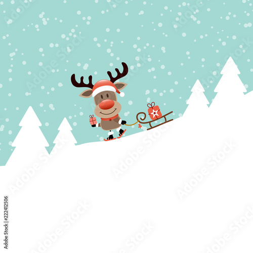 rudolph gift skiing downhill pulling sleigh retro stock image and