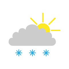 SNOWY symbol. CLOUD, SUN and SNOWFLAKES. Weather forecast icon. Vector.