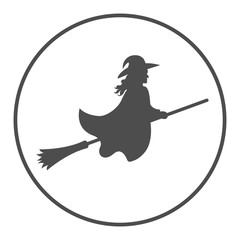Witch on broom. Vector icon.