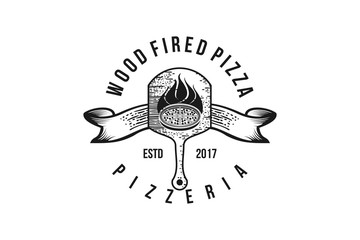 wood fired pizza classic logo design