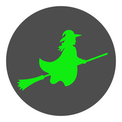 Witch flying on broom. Vector icon.