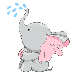 Hand drawn elephant cute character