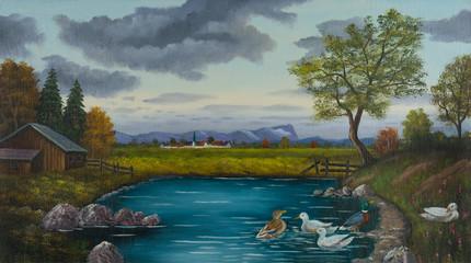 Enten im Teich in der nähe von einer Ortschaft