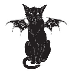 Creepy black cat with monster wings isolated over white background. Wiccan familiar spirit, halloween or pagan witchcraft theme print design vector illustration.
