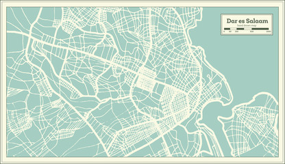 Dar es Salaam Tanzania City Map in Retro Style. Outline Map.