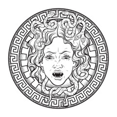 Medusa Gorgon head on a shield hand drawn line art and dot work tattoo or print design isolated vector illustration. Gorgoneion is a protective amulet.