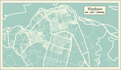 Kinshasa Democratic Republic of the Congo City Map in Retro Style. Outline Map.