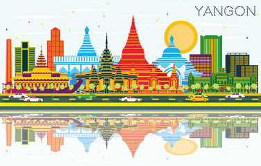 Yangon Myanmar City Skyline with Color Buildings, Blue Sky and Reflections.