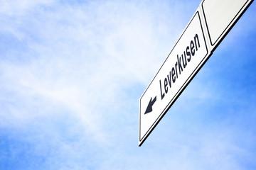 Signboard pointing towards Leverkusen