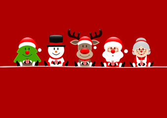 Tree, Snowman, Rudolph, Santa & Wife Red