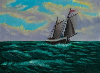 Segelschiff auf offener See bei leichten Wellengang