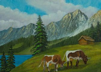 Berglandschaft mit Kühen auf einer grünen Wiese