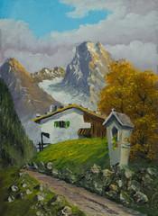Bildstock neben dem Weg zu einem Haus in den Bergen