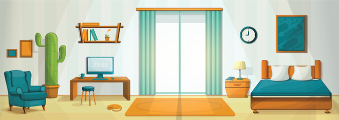 Interior room concept background. Cartoon illustration of interior room vector concept background for web design