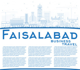 Outline Faisalabad Pakistan City Skyline with Blue Buildings and Copy Space.