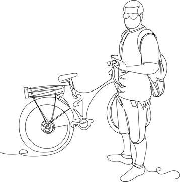 cyclist. linear vector illustration