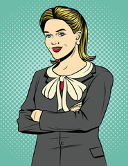 Vector colored pop art comic style illustration of a business woman standing with arms crossed. Beautiful blonde woman in an office suit is smiling. Vintage poster of a successful woman office worker