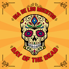 Day of the dead. Dia de los muertos. Banner template with mexican sugar skull on background with floral pattern. Design element for poster, card, flyer, t shirt.