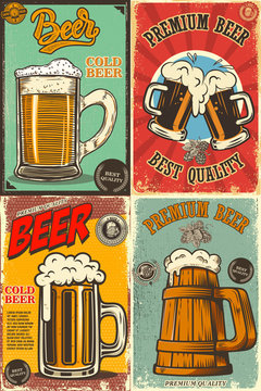 Set of beer pub posters. Design element for poster, card, emblem, sign banner.