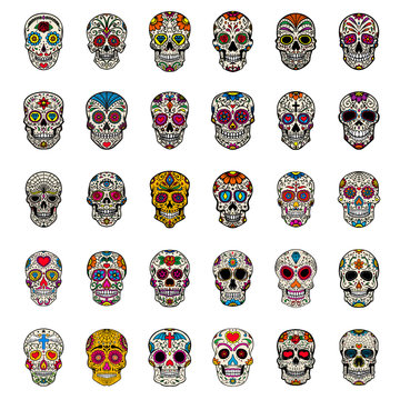 Big set of mexican sugar skulls isolated on white background. Design element for poster, card, t shirt.