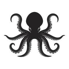 Octopus illustration isolated on white background. Design element for logo, label, emblem, sign.