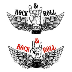 Rock festival. Human hand with rock and roll sign on background with wings.  Design element for t-shirt print, poster.