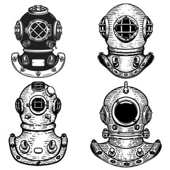 Set of retro style diver helmets. Design elements for logo, label, emblem, sign.