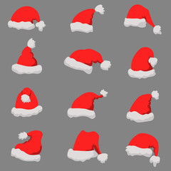 Set of Santa Claus hats Christmas theme. Design element or poster, greeting card, banner, flyer, decoration.