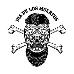 Bearded mexican sugar skull with crossbones. DAY OF THE DEAD. Design element for poster, greeting card, banner, t shirt, flyer, emblem.