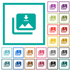 Download multiple images flat color icons with quadrant frames