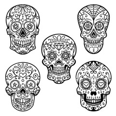 Set of colorful sugar skull isolated on white background. Day of the dead.  Design element for poster, card, banner, print.