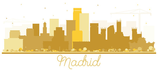 Madrid Spain Skyline Silhouette with Golden Buildings Isolated on White Background.