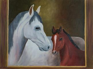 Weißes Pferd und braunes Fohlen mit braunem Rahmen