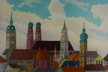 Blick auf die Stadt München mit den Kirchtürmen