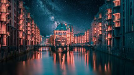 Hamburg Wasserschloss mit Milchstraße zur Nacht