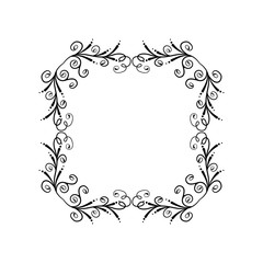 Decorative empty floral frame. Temlate for greeting card, invitation. Romantic floral frame