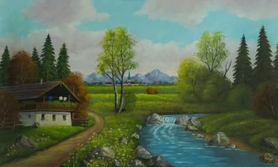 Landschaft mit Haus und Fluß nahe einer Ortschaft