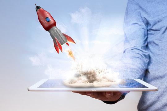 Man Hand Tablet PC Rocket