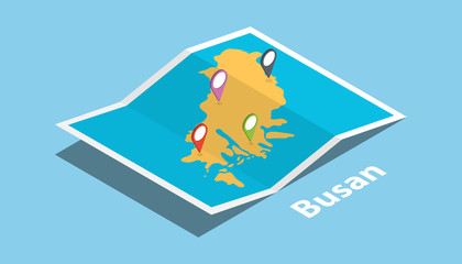 busan pusan south korea explore maps with isometric style and pin location tag on top