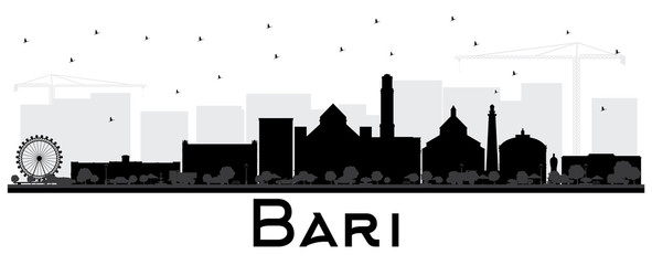 Bari Italy City Skyline Silhouette with Black Buildings Isolated on White.