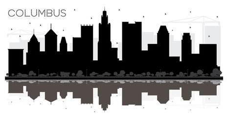 Columbus Ohio City skyline black and white silhouette with Reflections.