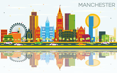 Manchester Skyline with Color Buildings, Blue Sky and Reflections.