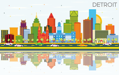Detroit Michigan City Skyline with Color Buildings, Blue Sky and Reflections.
