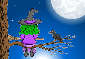 witch sitting on a branch enjoying the full moon